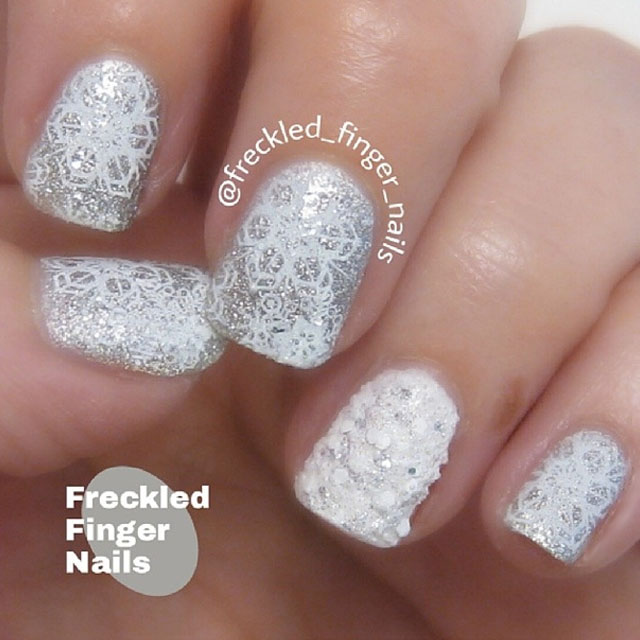 White and silver snowflake nails by @freckled-finger-nails