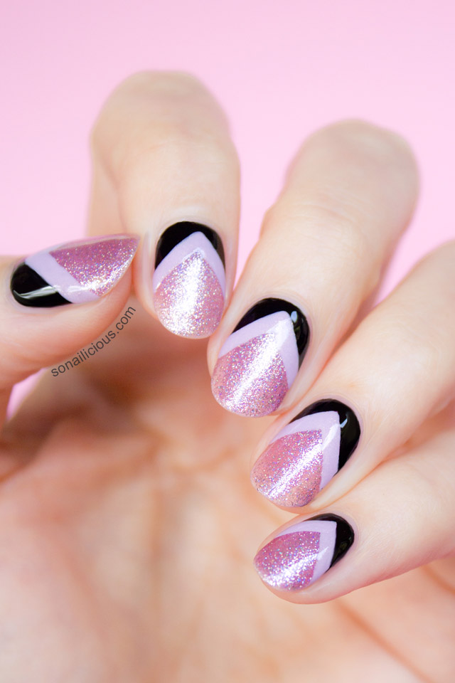 beautiful pink chevron nails