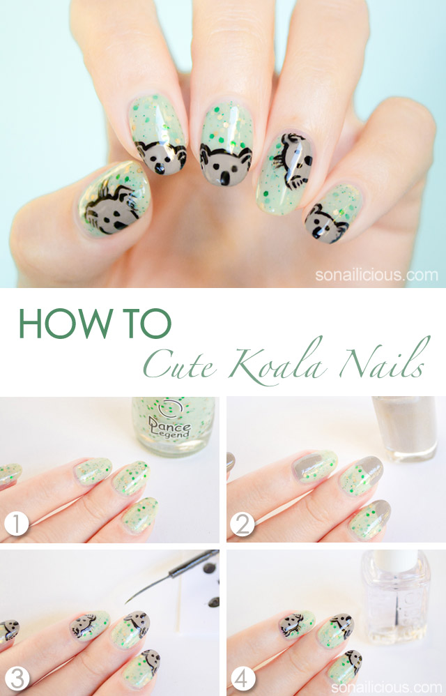 cute koala australia day nails tutorial