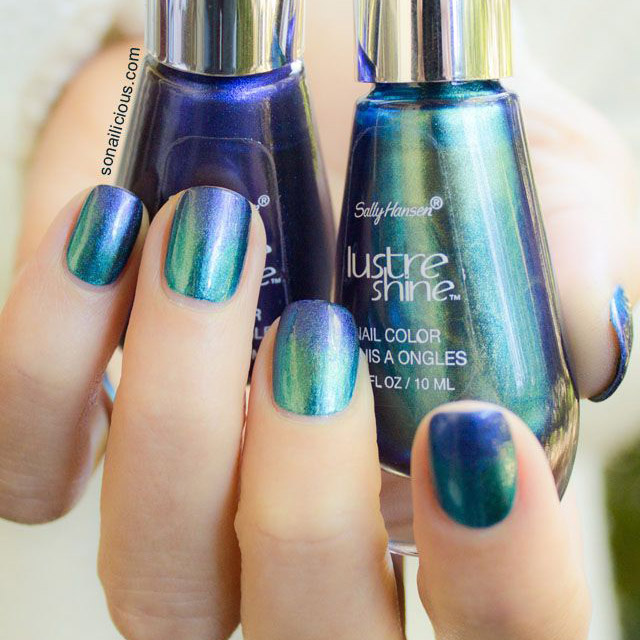 green and blue ombre nails