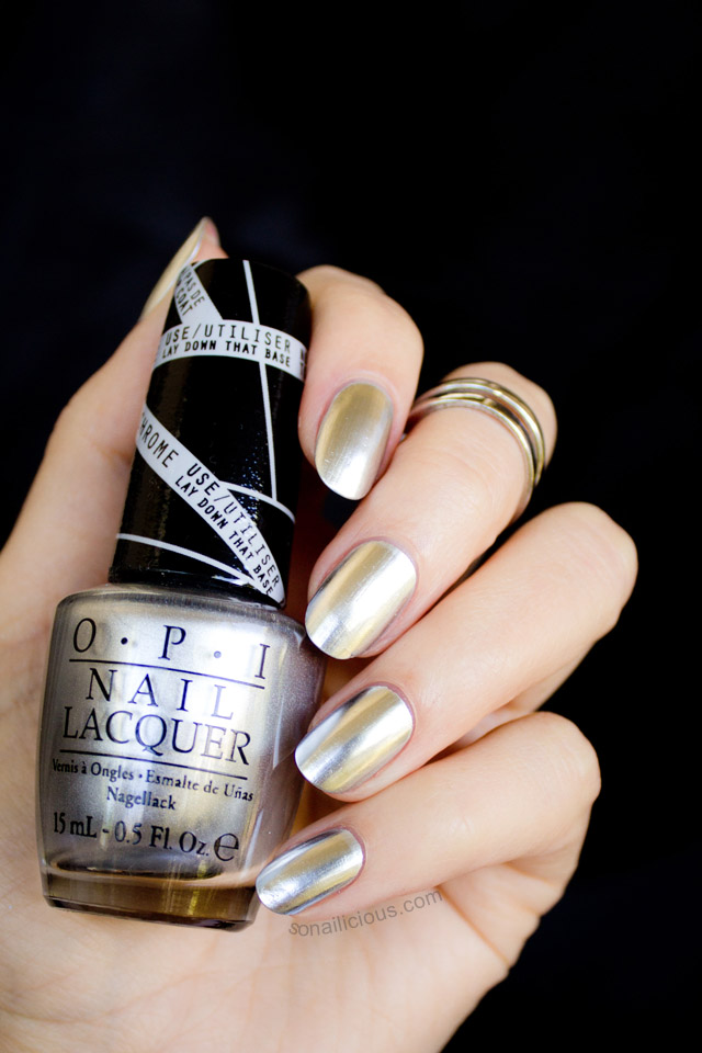 opi push and shove silver chrome nail polish