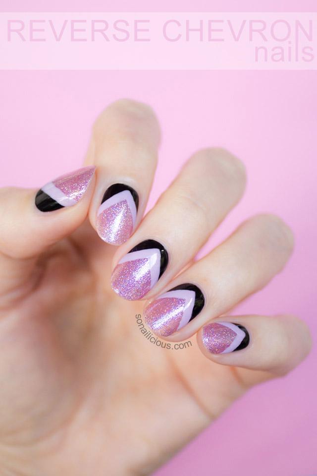 pink glitter nails reverse chevron nails