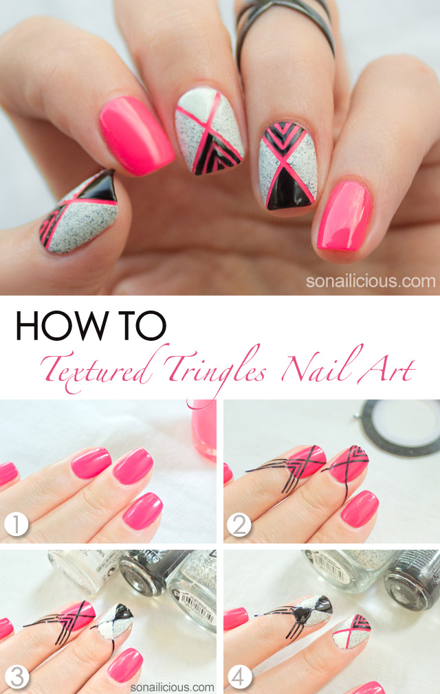 Geometric Nail Art With Textured Nail Polish – Tutorial