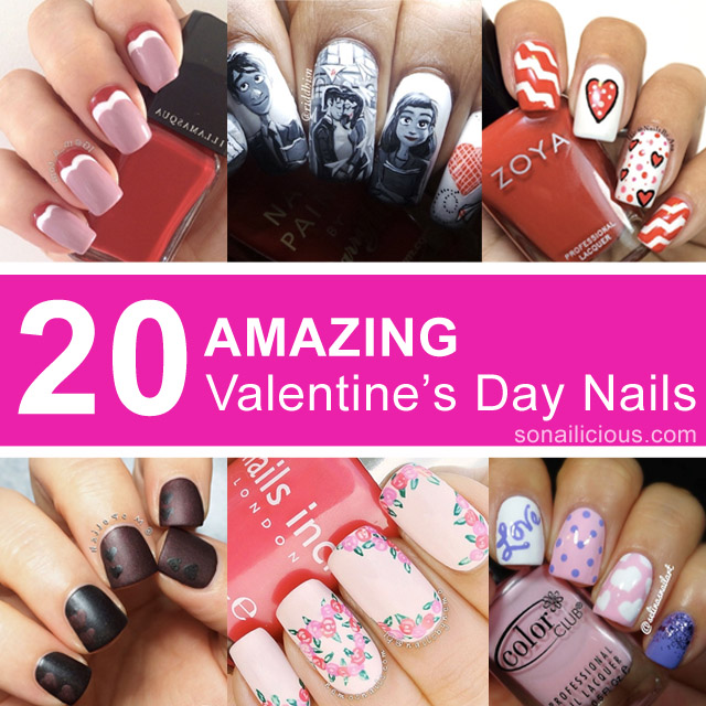 20 best valentine's day nail designs - 20 Stunning Valentine's Day Nail Designs
