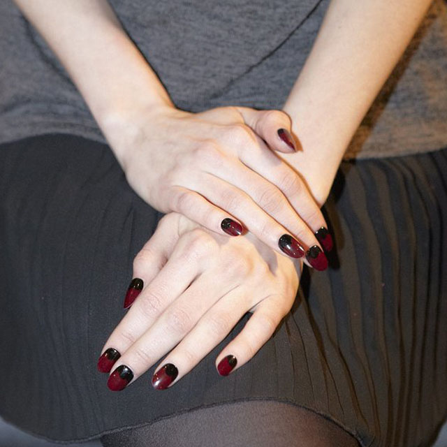 Femme fatale half moon manicure at Charlotte Ronson