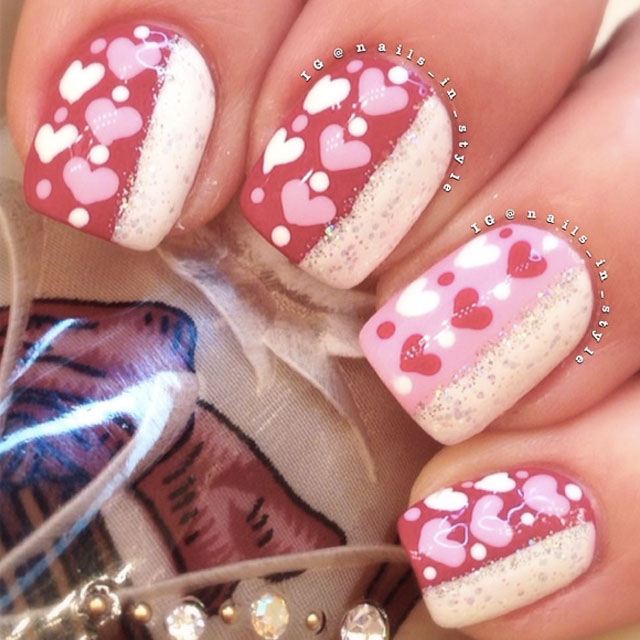 Mini Love Hearts Valentines Day nails by @nails_in_style