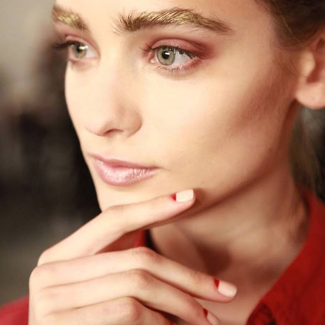 Nude and red moon nails by Zoya at Alexandre Herchcovitch
