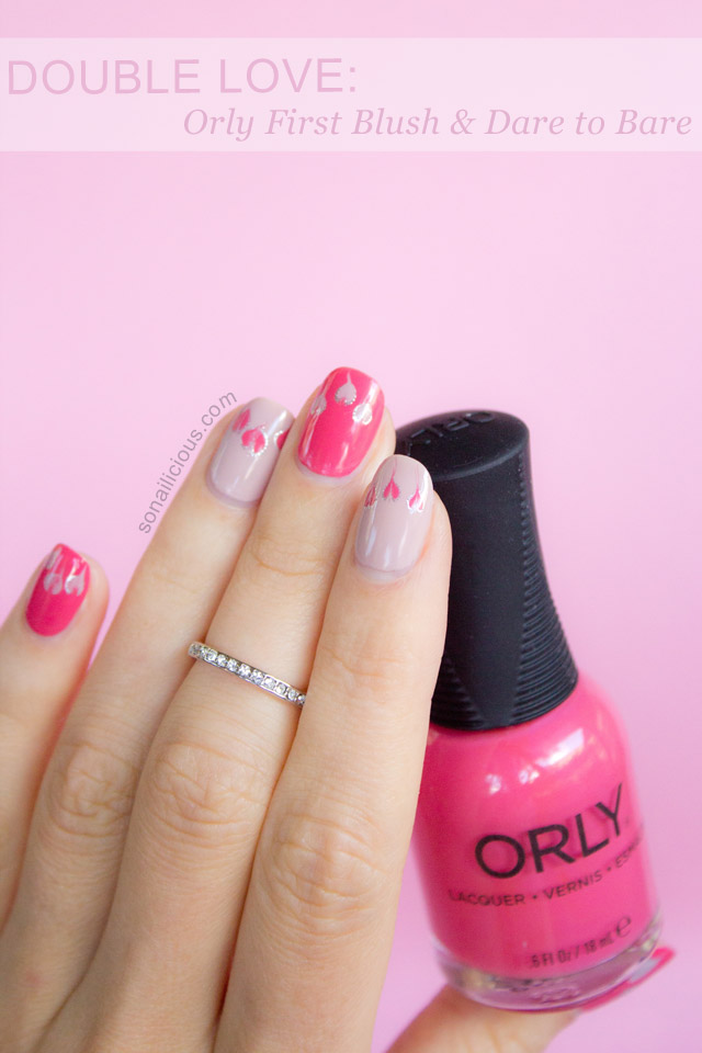 pink valentines day nails Orly first blush swatch