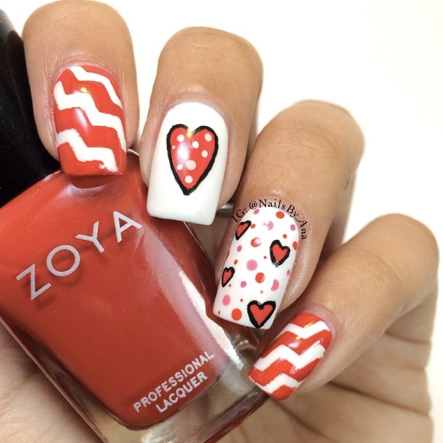 Polka Dot Valentines Day nails by @nailsby_ana