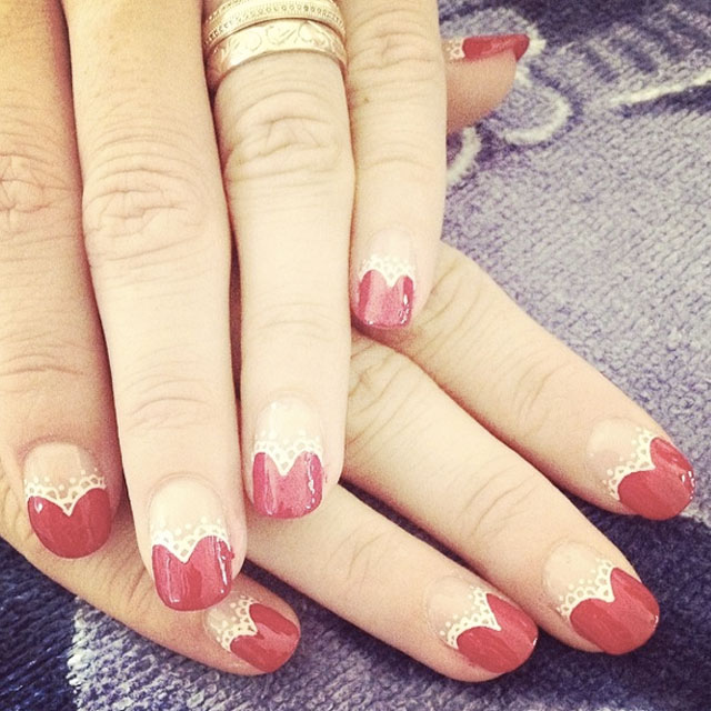 Silmple Lacey Hearts Valentines Day nails by @natasha226
