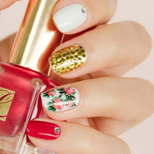 Skittlette Nails With Floral Accent