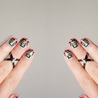 aztec print nails tutorial professional beauty