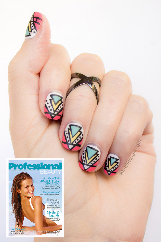 aztec print nail art tutorial professional beauty australia