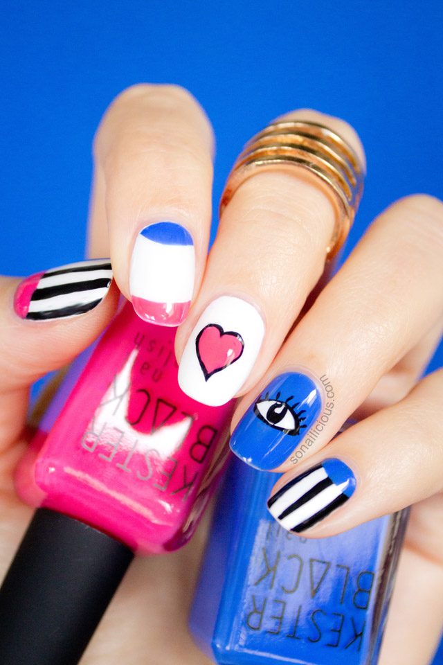 funky town valentines nails