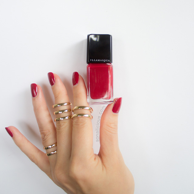 illamasqua throb red polish review swatches