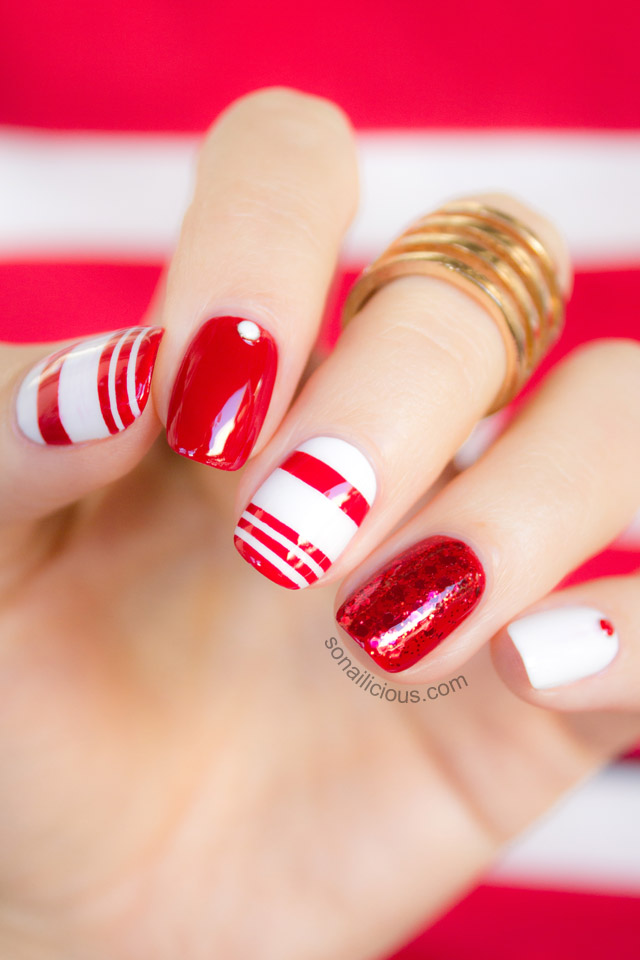 Like Red And White We Mix And Match New Nail Design