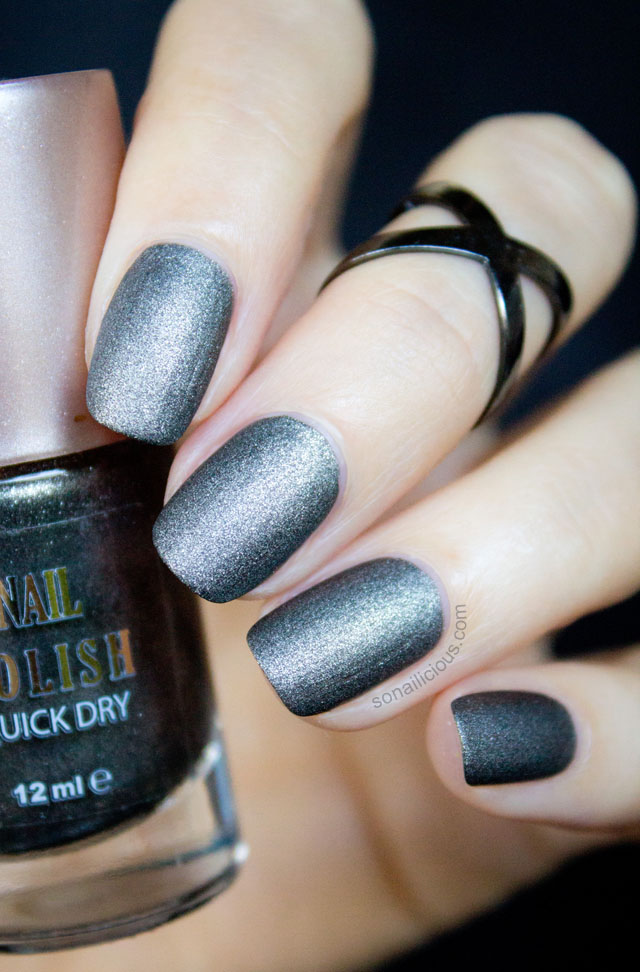 1 polish - 2 ways: Severina Gunmetal Black Matte Nail Polish