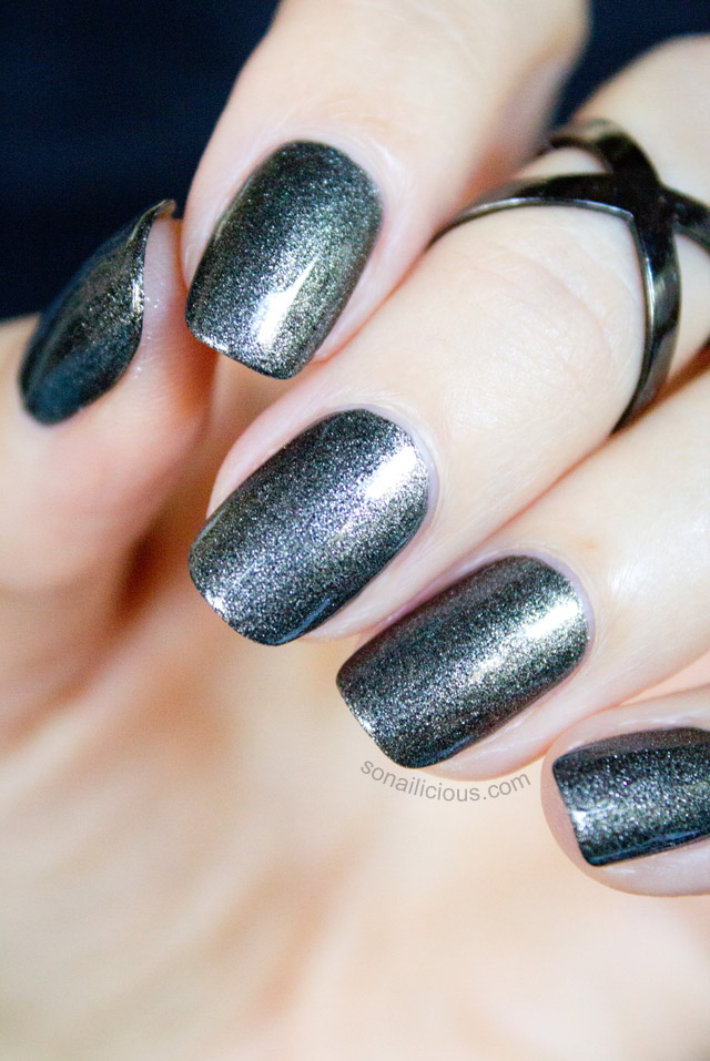 severina gunmetal black shimmer polish 1