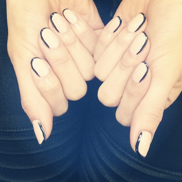 A shadow French manicure by @MissPopNails