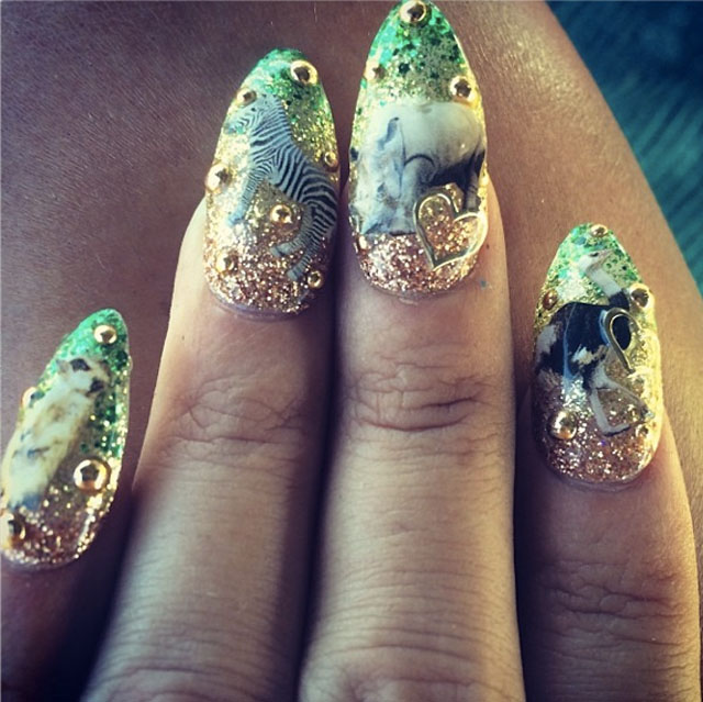 Safari nails for Lily Allen by @Naominailsnyc