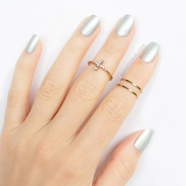 Silver nails and delicate gold rings
