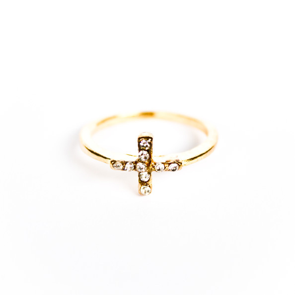 Tiny gold cross ring
