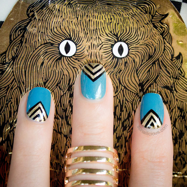 cute teal and gold nail art