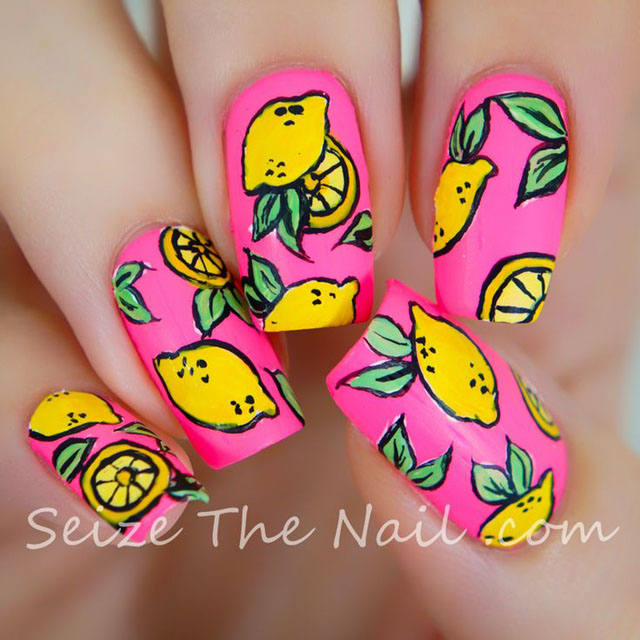 Lemon nails by SeizeTheNail