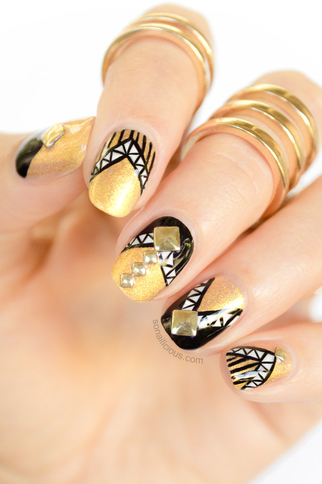 Armoured black and gold nails with studs black and gold nail art prinsesfo Image collections
