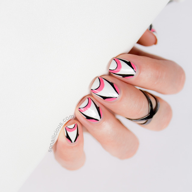 by johnny 2014 futuristic nail design, pink and white nail art tutorial