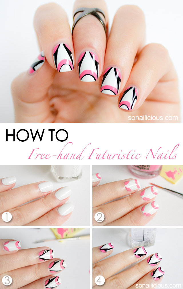 futuristic pink and white nail art tutorial