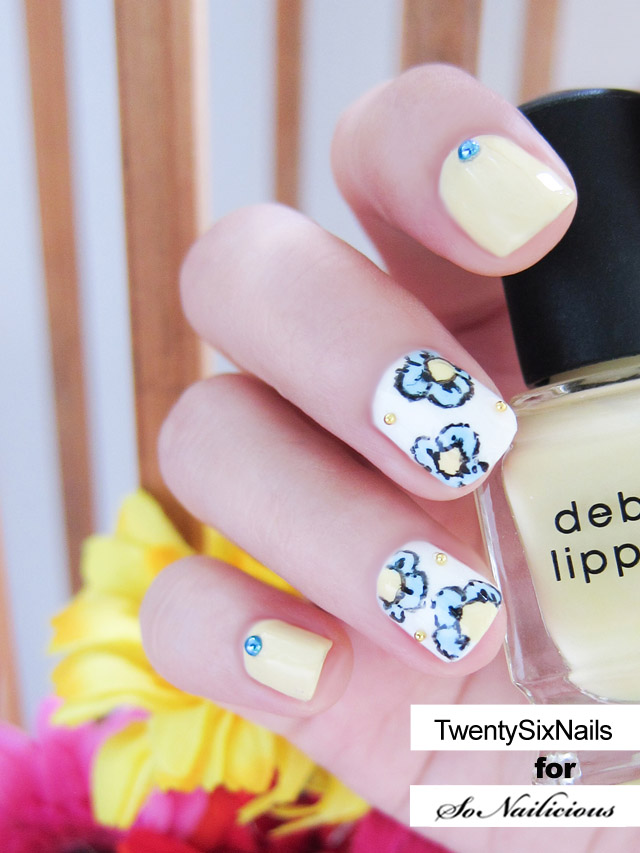 pastel floral nail art tutorial