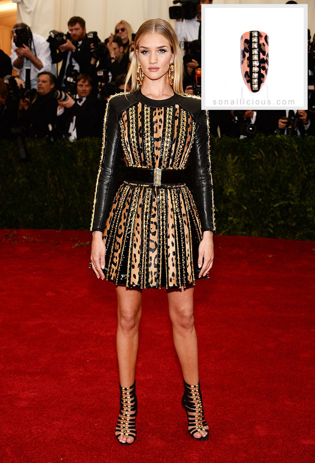 Rosie Huntington Whiteley Balmain dress met gala 2014