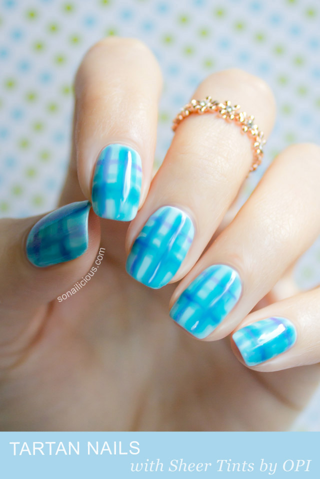 Tartan nails with opi sheer tints nail art tutorial