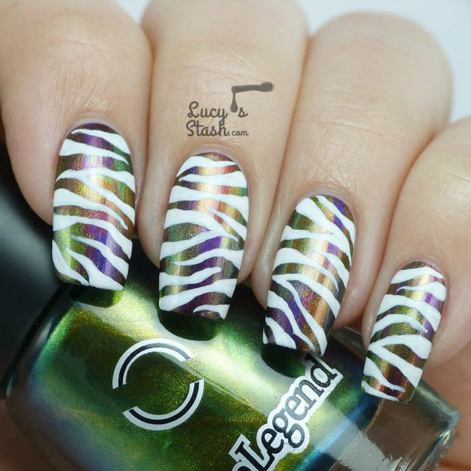 animal print nails with chameleon polish