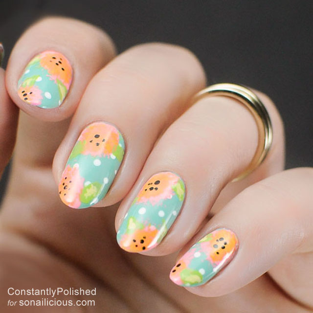 easy manicure ideas floral print nails 4