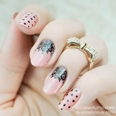 easy manicure ideas lace nails 6 – SoNailicious