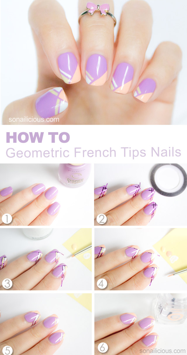 french tips nail art tutorial - SoNailicious
