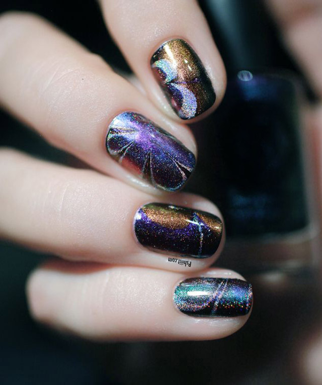 watermarble nails with dance legend chameleon nail polish