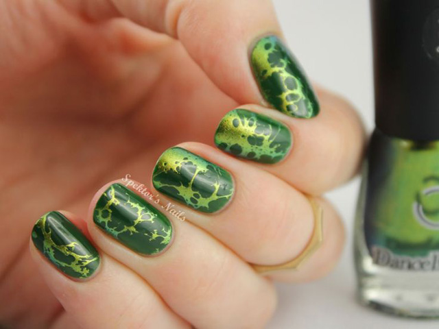 waterspotted nails with chameleon nail polish