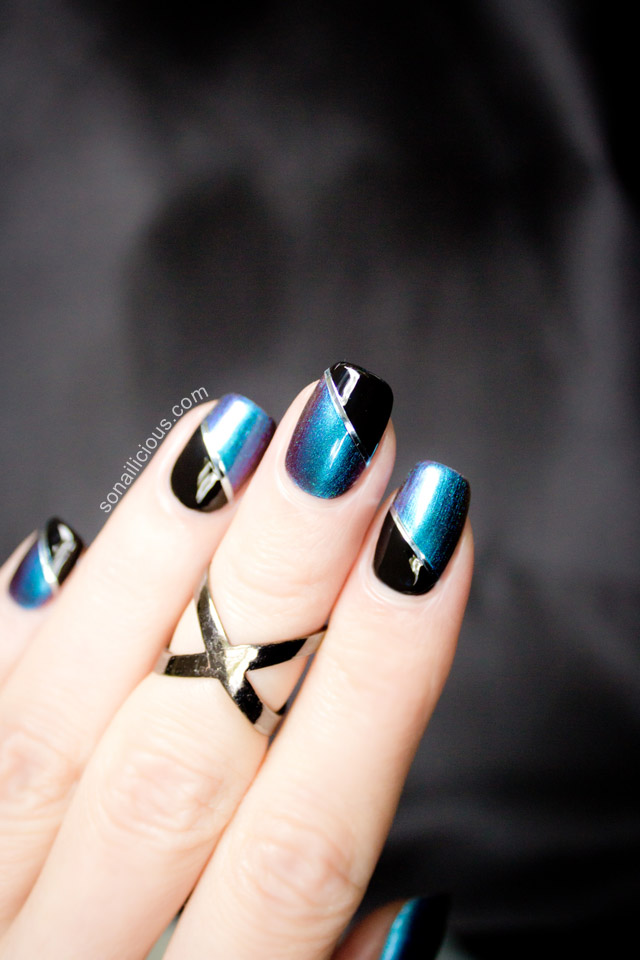 beautiful blue and black two toned nails