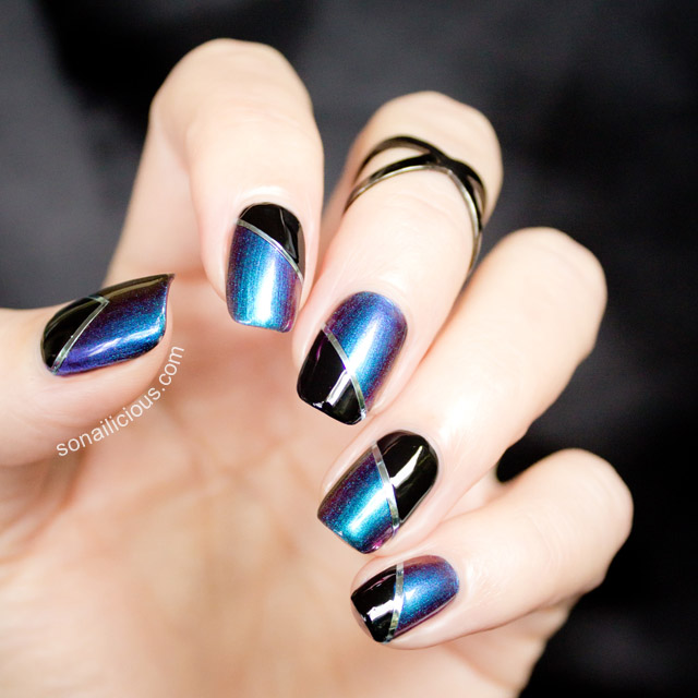 blue and black nails dance legend boggs - SoNailicious