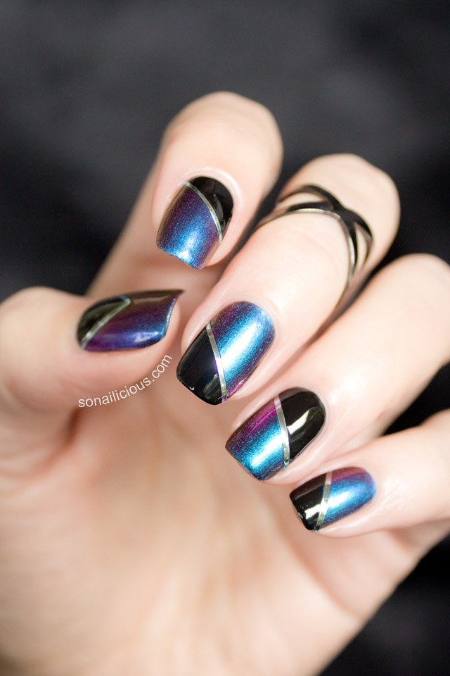blue and black two toned nails - SoNailicious