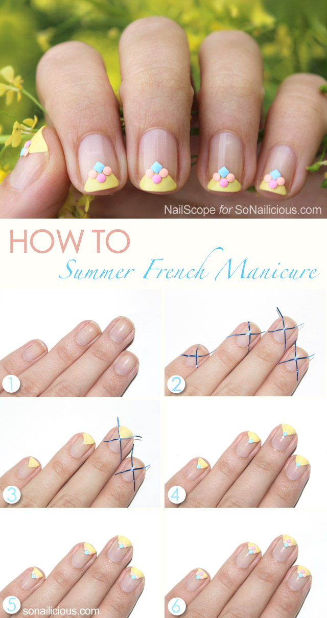 summer french manicure tutorial - SoNailicious