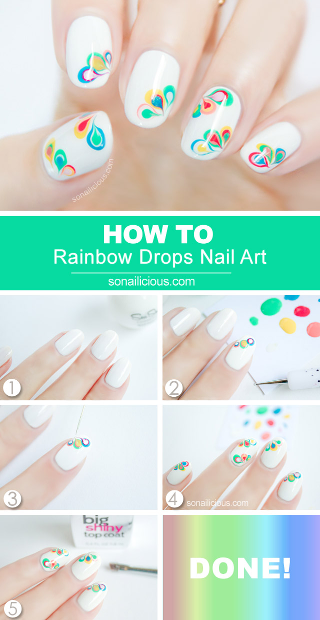 Rainbow Drops Drag Marble Nail Art Tutorial