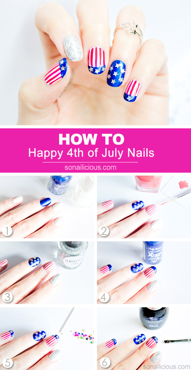 how to do 4th of july nails, tutorial
