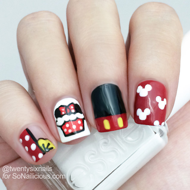 minnie mouse cupcake nails how to