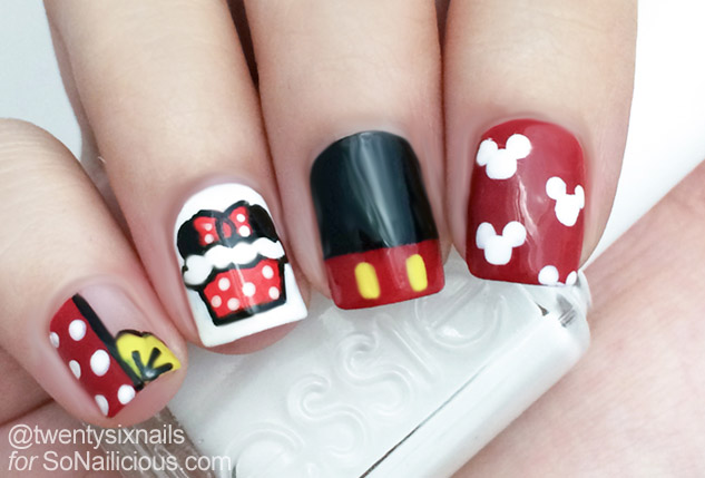 minnie mouse nails how to