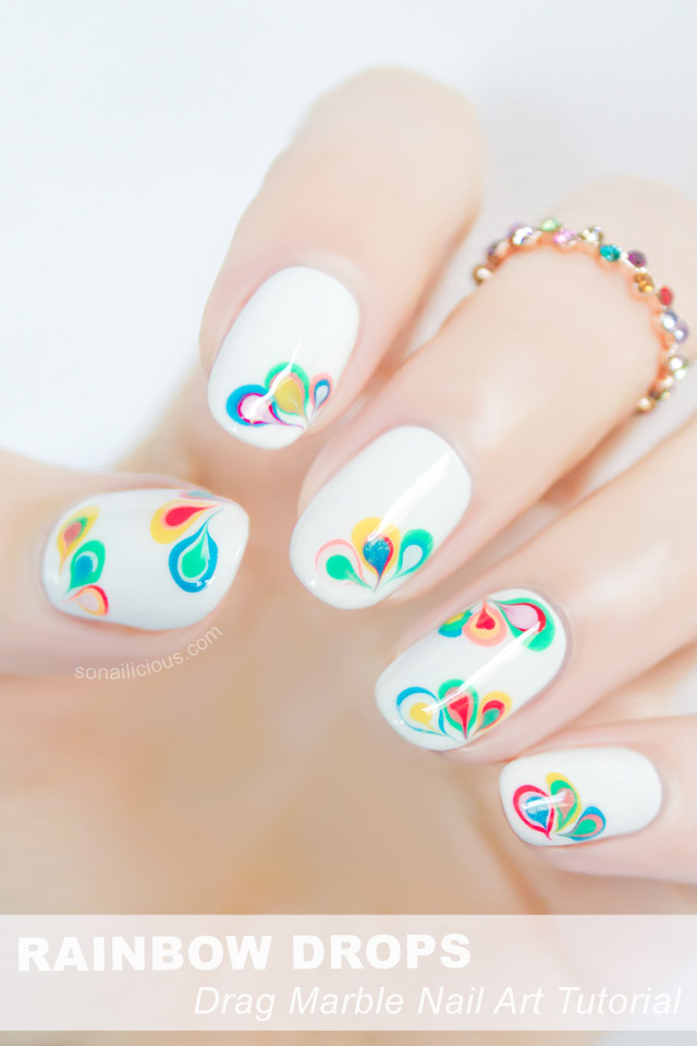 Rainbow Drops Drag Marble Nail Art - Tutorial