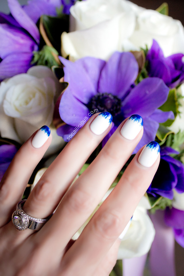 blue and white wedding nails